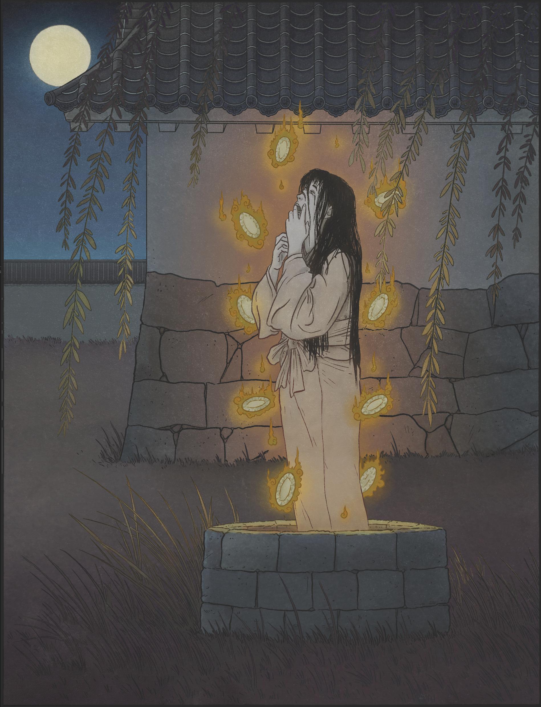 Okiku by Matthew Meyer: figure of a female ghost
