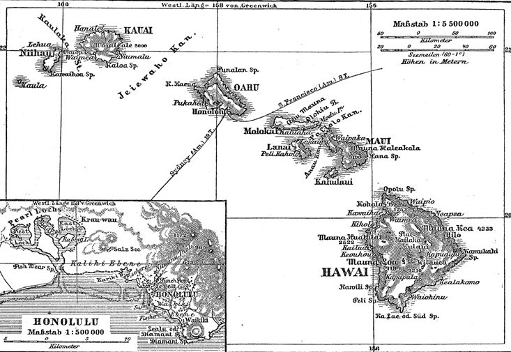 Map of Hawaiian Archipelago, Meyers Konversations-Lexikon, 4th Editions (1885-90)