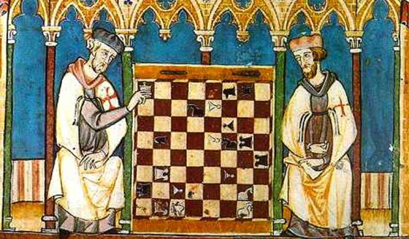 Old painting of two kings beside a large chess board