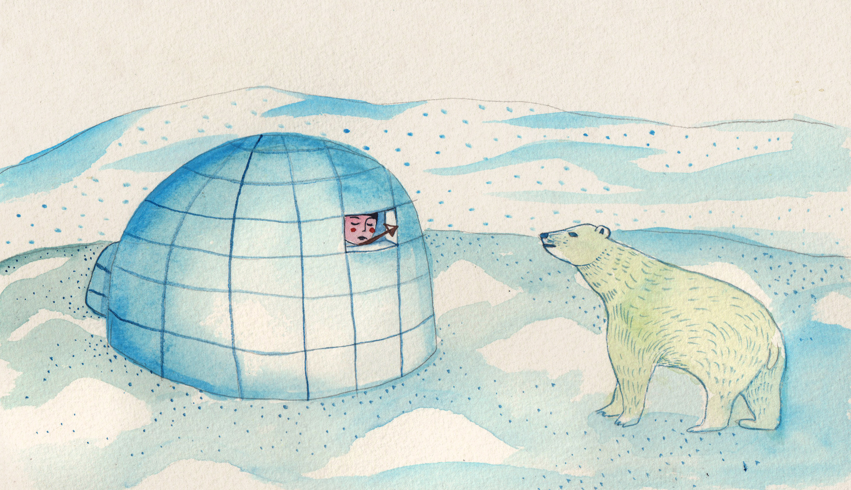 Boy looking out from an igloo at a polar bear © Aitch, from The Blind Boy and the Loon by Angela McAllister