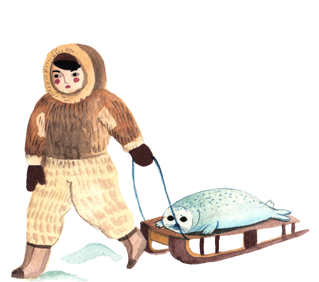 Boy with a seal on a sled © Aitch, from The Blind Boy and the Loon by Angela McAllister