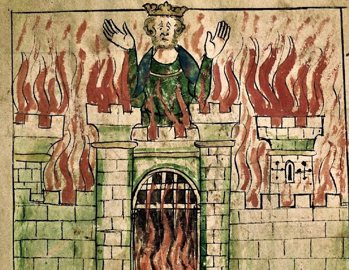Vortigern, a half-legendary 5th-century British ruler, is depicted in his burning castle.