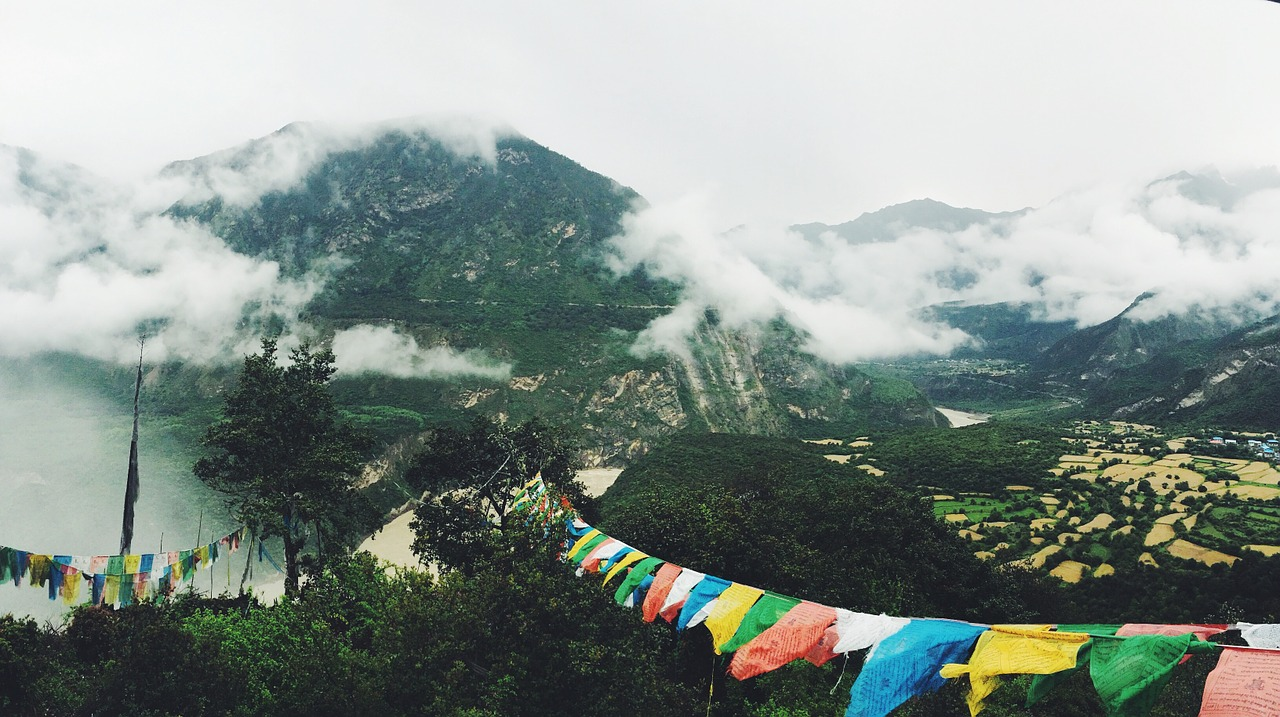 Mountain landscape with Tibetan prayer flags