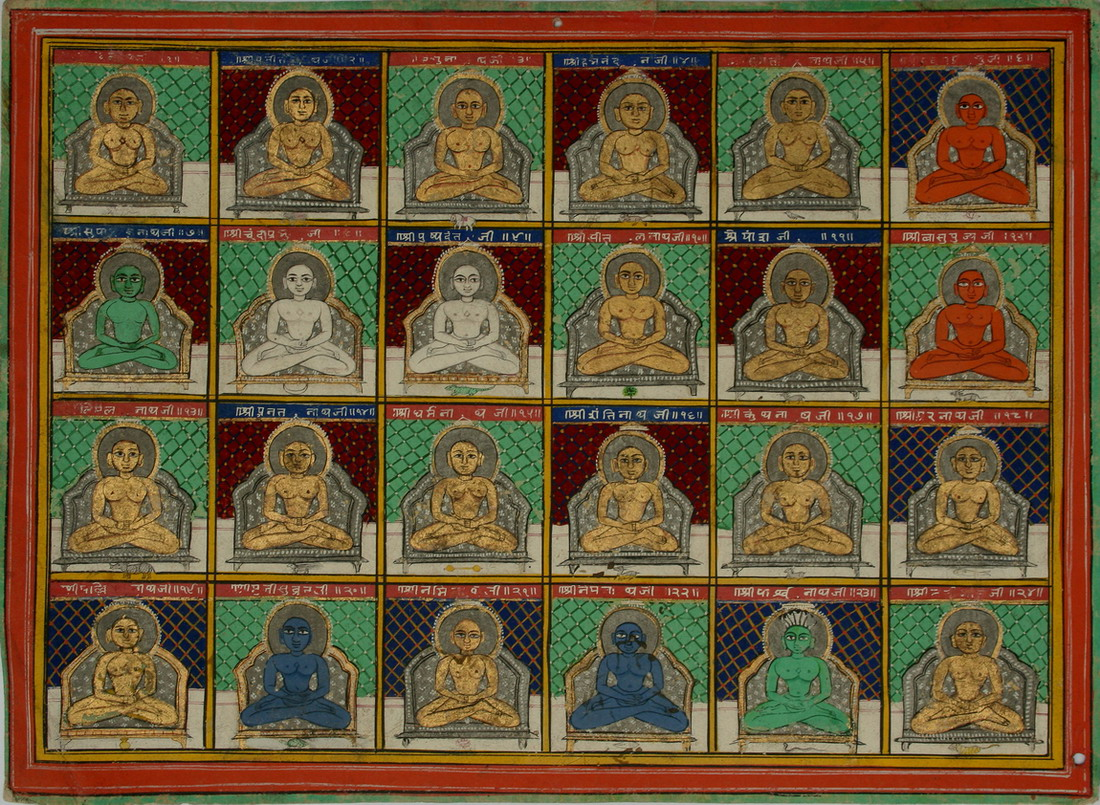 "The 24 teachers who appear in every world cycle as per Jain Mythology.  <a href=""https://commons.wikimedia.org/wiki/File:004_Cave_19,_Many_Buddhas_(34219358702).jpg"">Source</a>"