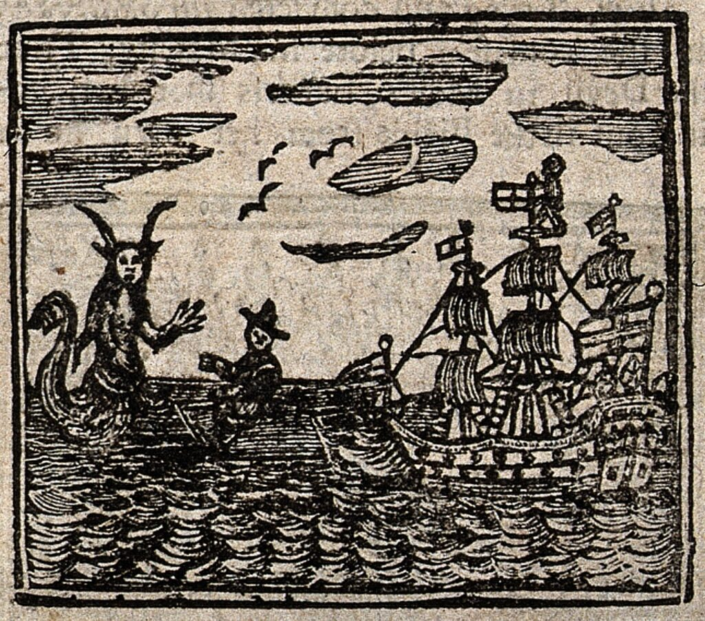 Witches were often accused of causing death and destruction at sea CC 4.0 https://commons.m.wikimedia.org/wiki/File:Witchcraft;_a_ship_being_confronted_by_a_sea-devil_(%3F)._Wood_Wellcome_V0025812EBR.jpg