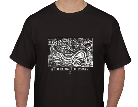 FolkloreThursday Tshirt with sea serpent detail