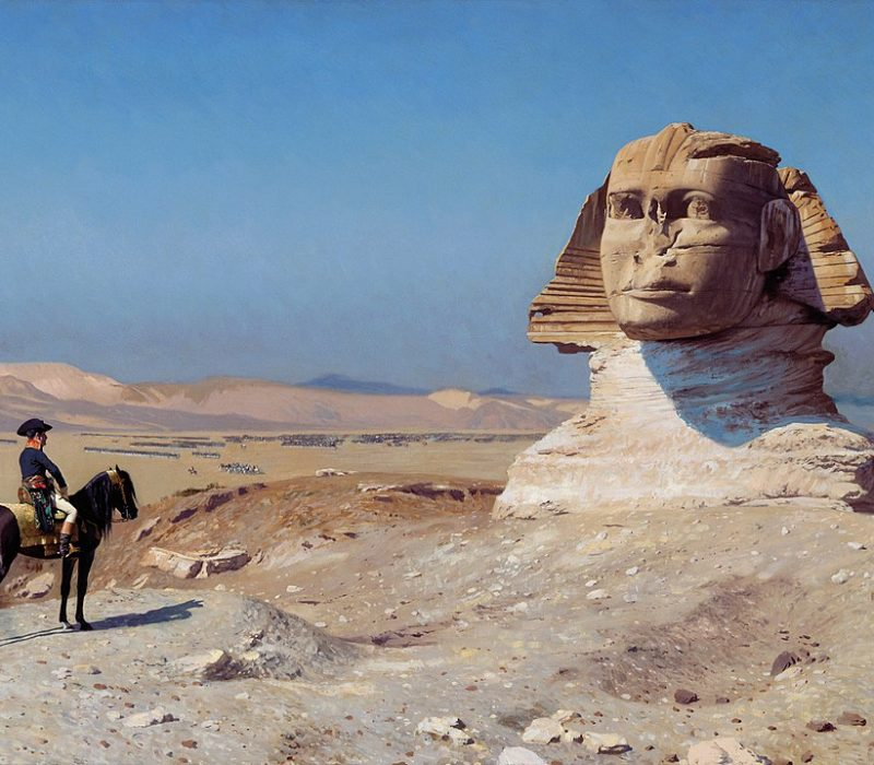 Napoleon facing the Sphinx, Jean-Léon Gérôme https://commons.wikimedia.org/wiki/Sphinx#/media/File:Jean-L%C3%A9on_G%C3%A9r%C3%B4me_003.jpg