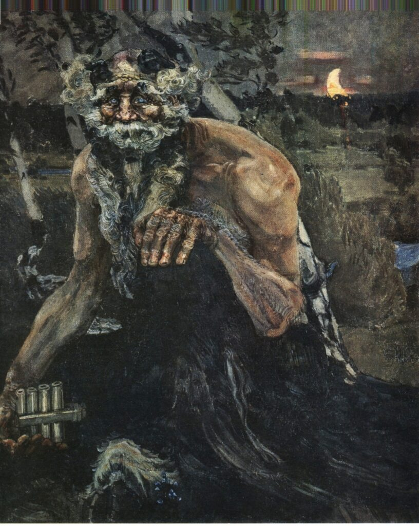 "A darker turn-of-the century Pan. ""Pan"" by Mikhail Vrubel. 1899. Source https://commons.wikimedia.org/w/index.php?curid=218314"