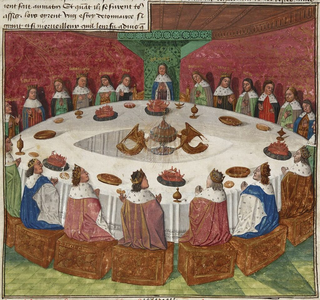 The Round Table, by Evrard d'Espinques Source https://commons.wikimedia.org/wiki/File:Holy-grail-round-table-ms-fr-112-3-f5r-1470-detail.jpg