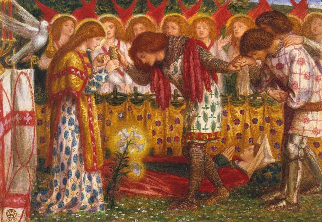 How Sir Galahad, Sir Bors and Sir Percival and His Sister Source https://commons.wikimedia.org/wiki/File:Dante_Gabriel_Rossetti_-_How_Sir_Galahad,_Sir_Bors_and_Sir_Percival_Were_Fed_with_the_Sanct_Grael.jpg