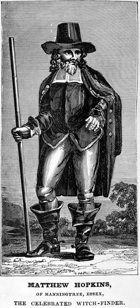 "Portrait of Matthew Hopkins, ""The Celebrated Witch-finder"" from the 1837 edition of The discovery of witches. CC BY 4.0 https://wellcomecollection.org/works/veebwm5d"