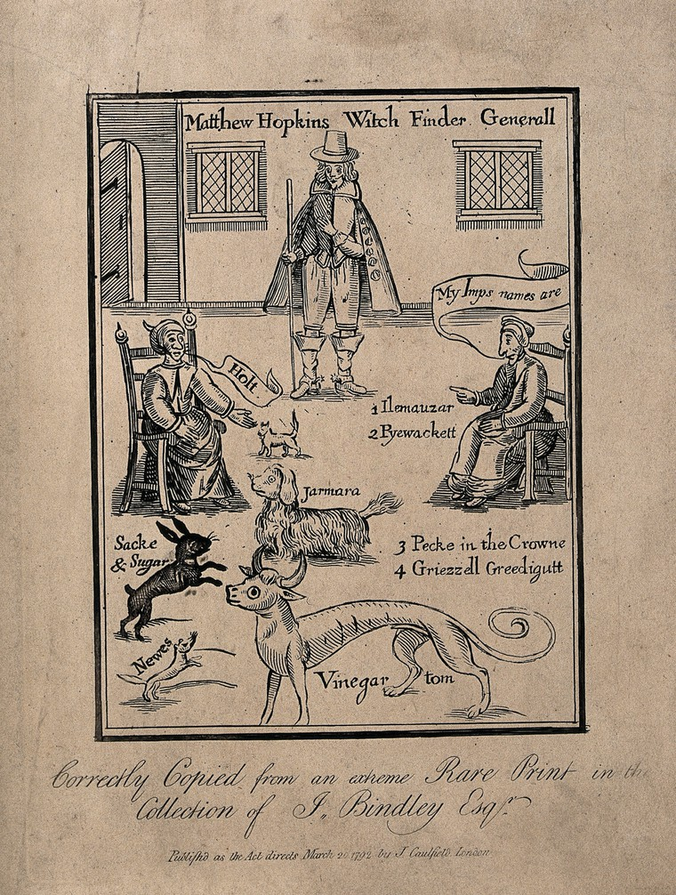 Matthew Hopkins, Witchfinder general, with two supposed witches calling out the names of their demons, some of which are represented by animals. Etching, 1792, after an earlier woodcut. https://wellcomecollection.org/works/nmgg2eb6