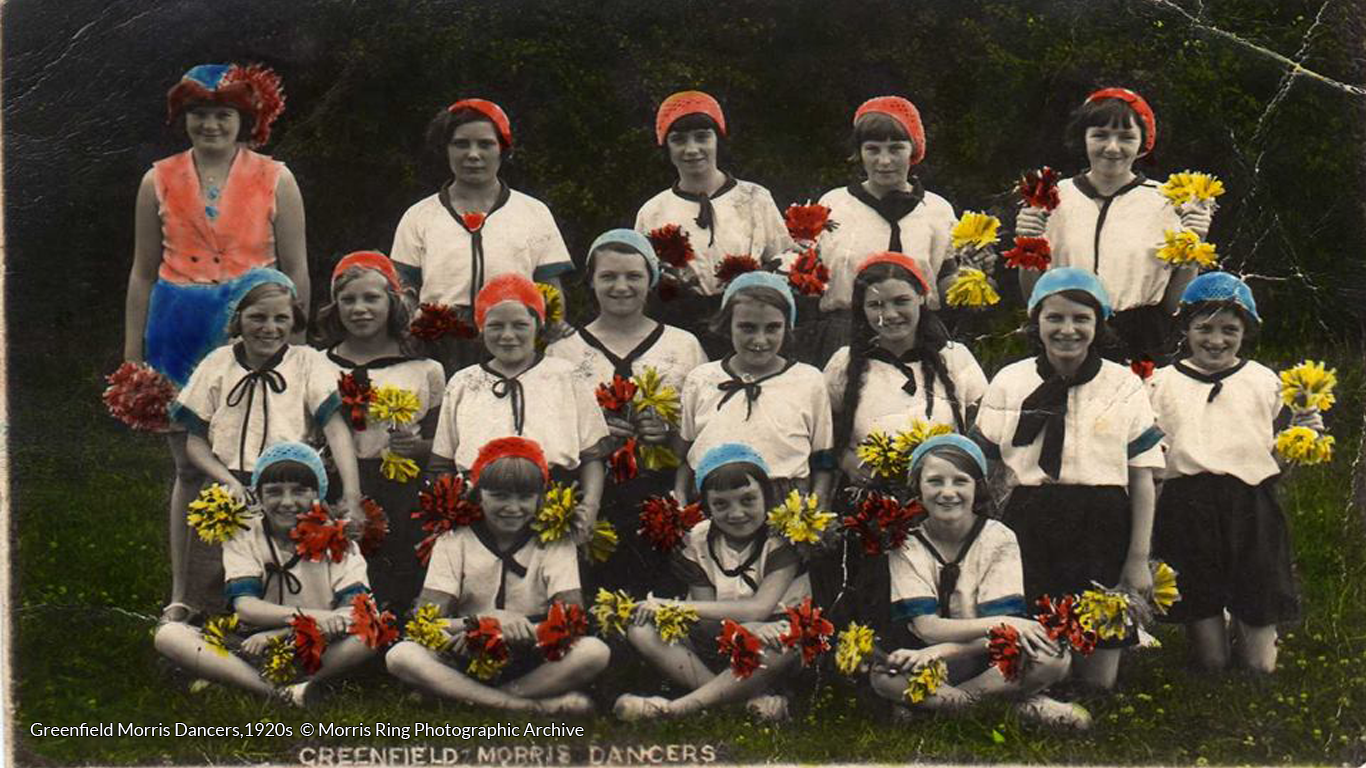 Girls with pom-poms! Greenfield Morris Dancers,1920s © Greenfield Morris Dancers, Morris Ring Photographic Archive