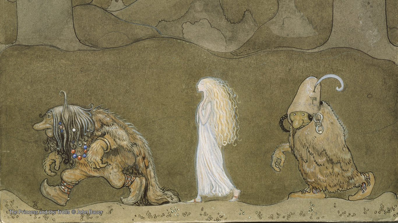 J R Tolkien The Three Trolls Are Turned To Stone Colored By H E Riddett