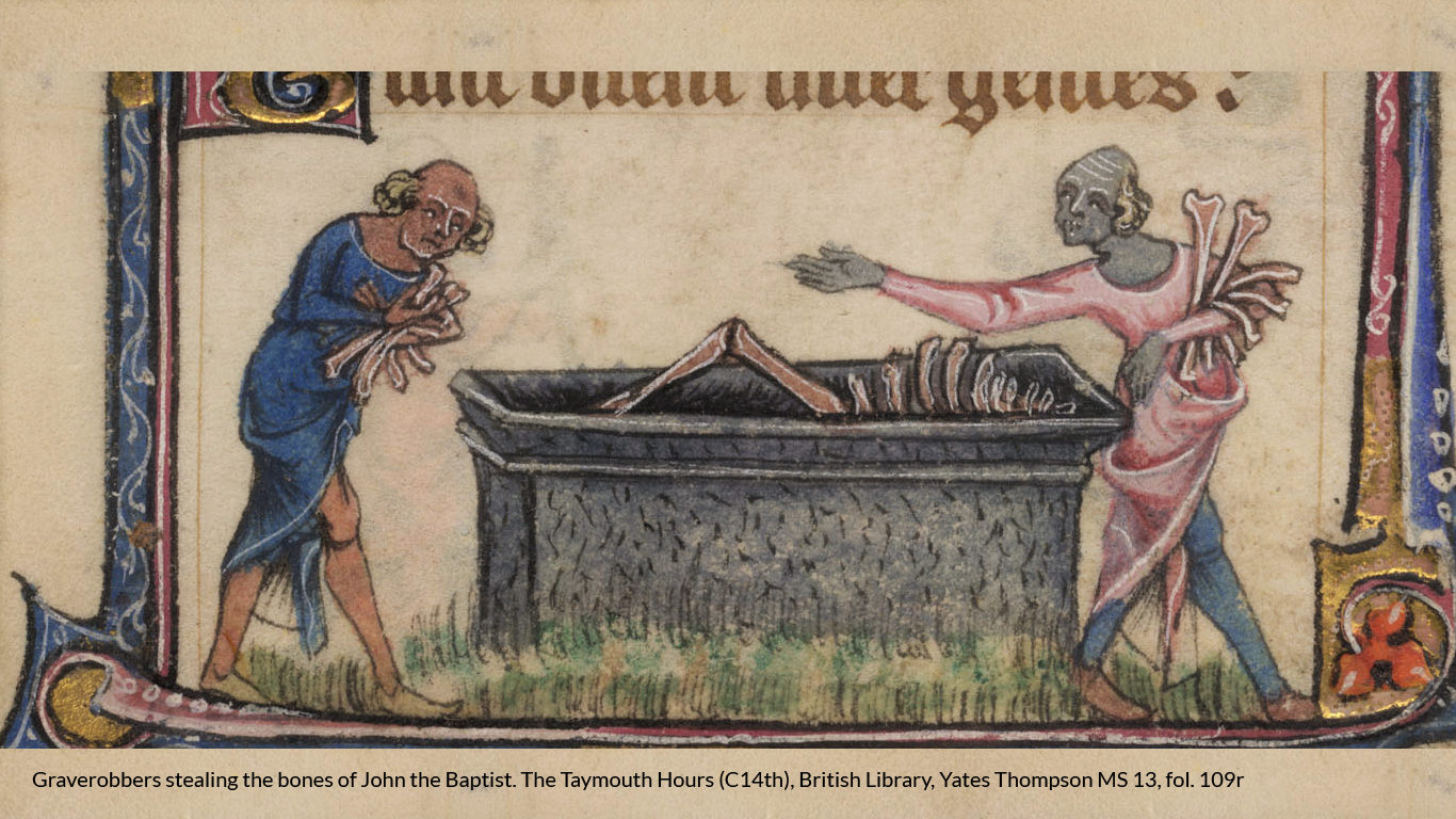 Graverobbers stealing the bones of John the Baptist. The Taymouth Hours (C14th), British Library, Yates Thompson MS 13, fol. 109r