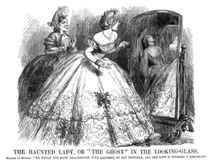 """The Haunted Lady, or """"The Ghost"""" in the Looking-glass. Madame La Modiste. """"We would not have disappointed your ladyship, at any sacrifice, and the robe is finished a merveille."""" Published 4 July 1863. By John Tenniel © Punch Ltd"""
