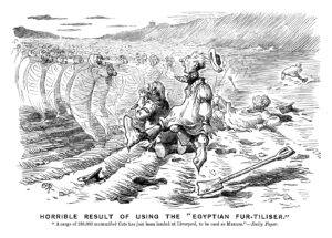"""Horrible Result of Using the 'Egyptian Fur-tiliser.' """"A cargo of 180,000 mummified cats has just been landed at Liverpool, to be used as manure."""" - Daily Paper. Published in Punch 15 February 1890. By E T Reed © Punch Ltd"""