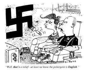 """""""Well, that's a relief - at least we know the poltergeist is English."""" Punch 27 April 1983. By Peter Birkett © Punch Ltd"""