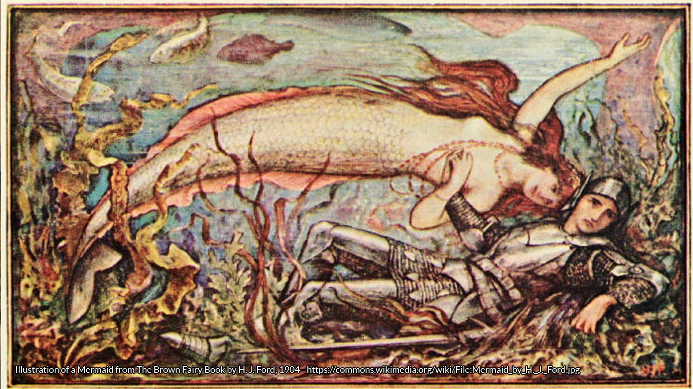 Illustration of a Mermaid from The Brown Fairy Book by H. J. Ford, 1904 - https://commons.wikimedia.org/wiki/File:Mermaid_by_H._J._Ford.jpg
