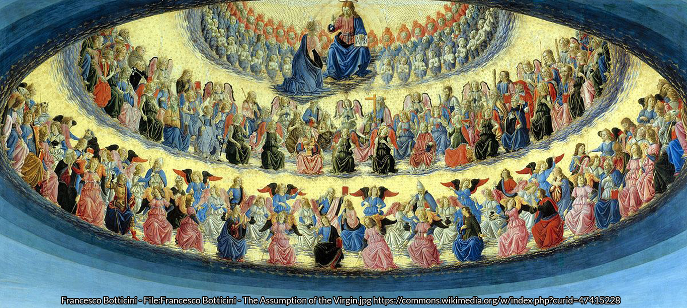 Botticini's painting of the Assumption of the Virgin Mary depicts the angelic hierarchy. Detail from Francesco Bottincini's L'elezione della Vergine. The National Gallery, London. https://commons.wikimedia.org/wiki/File%3ACoro_di_angeli_-_Francesco_Botticini.jpg