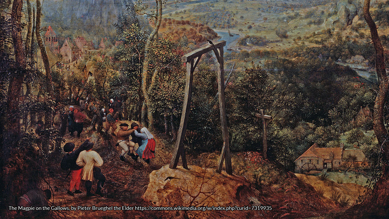 The Magpie on the Gallows, by Pieter Brueghel the Elder https://commons.wikimedia.org/w/index.php?curid=7319935