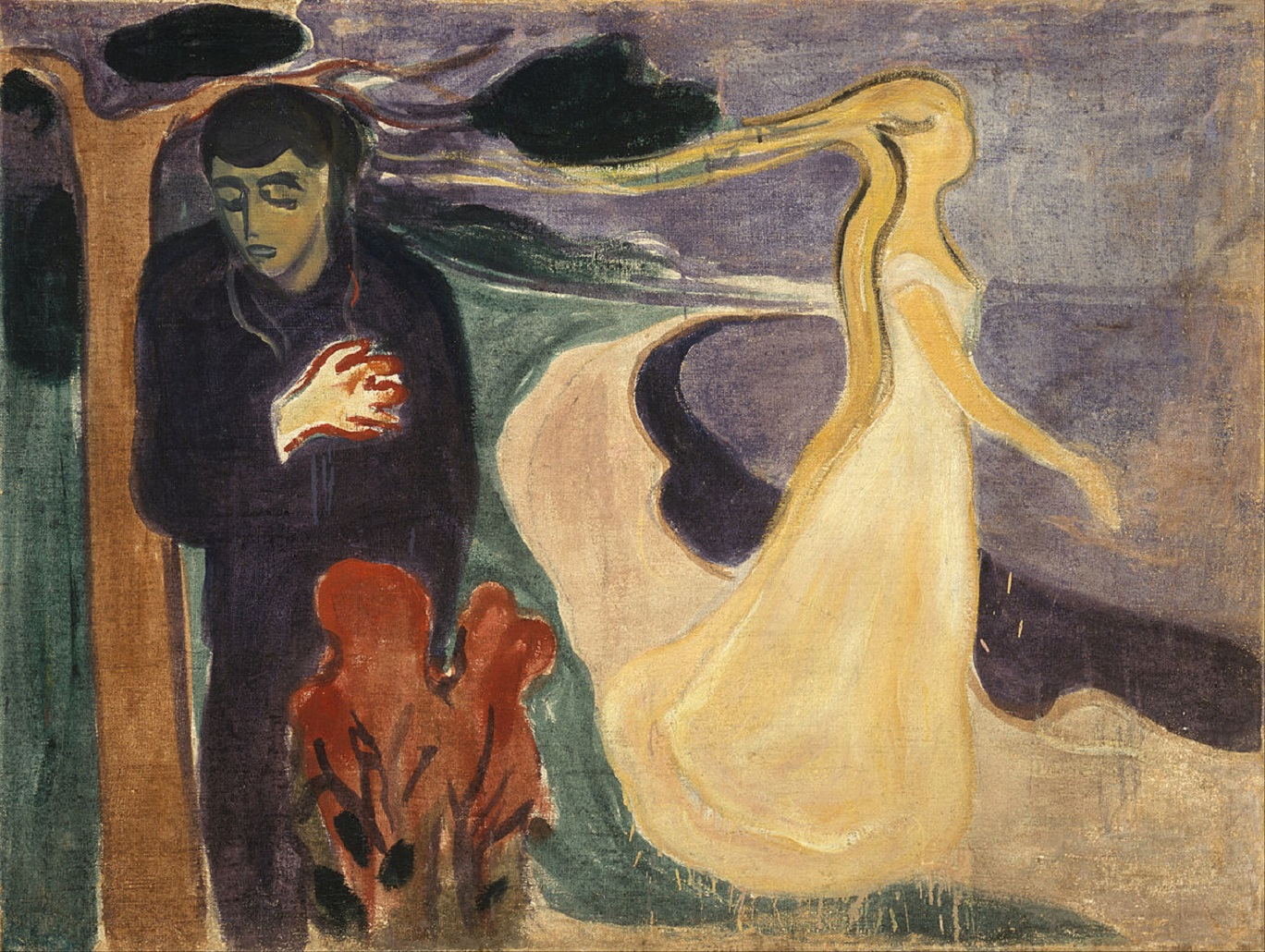 A man grips his heart as a lady in white walks away behind him - painting