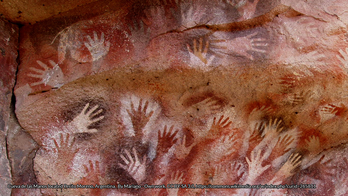 Hands at the Cuevas de las Manos upon Río Pinturas, near the town of Perito Moreno in Santa Cruz Province, Argentina. By Mariano - Own work, CC BY-SA 3.0, https://commons.wikimedia.org/w/index.php?curid=265811