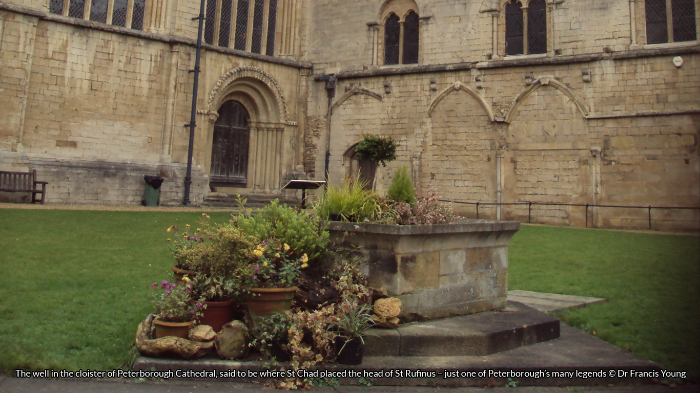 The well in the cloister of Peterborough Cathedral, said to be where St Chad placed the head of St Rufinus – just one of Peterborough's many legends © Dr Francis Young