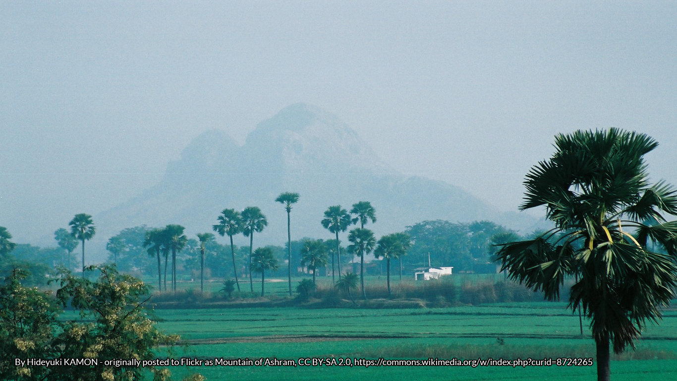 View of landscape of Northern India, with trees and mountains
