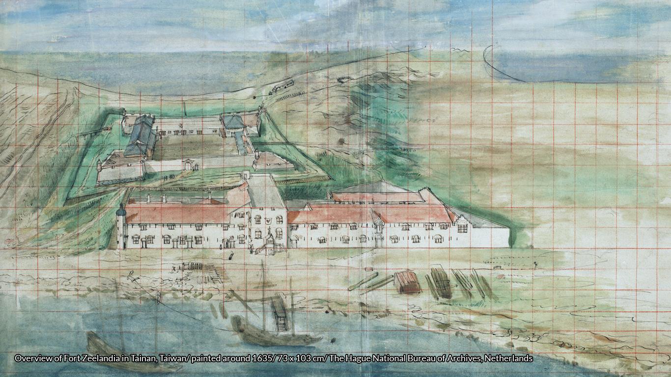 Overview of Fort Zeelandia (c. 1635), Dutch colonial headquarters in Taiwan (Formosa) https://commons.wikimedia.org/wiki/File:Zeelandia_from_Dutch.jpg