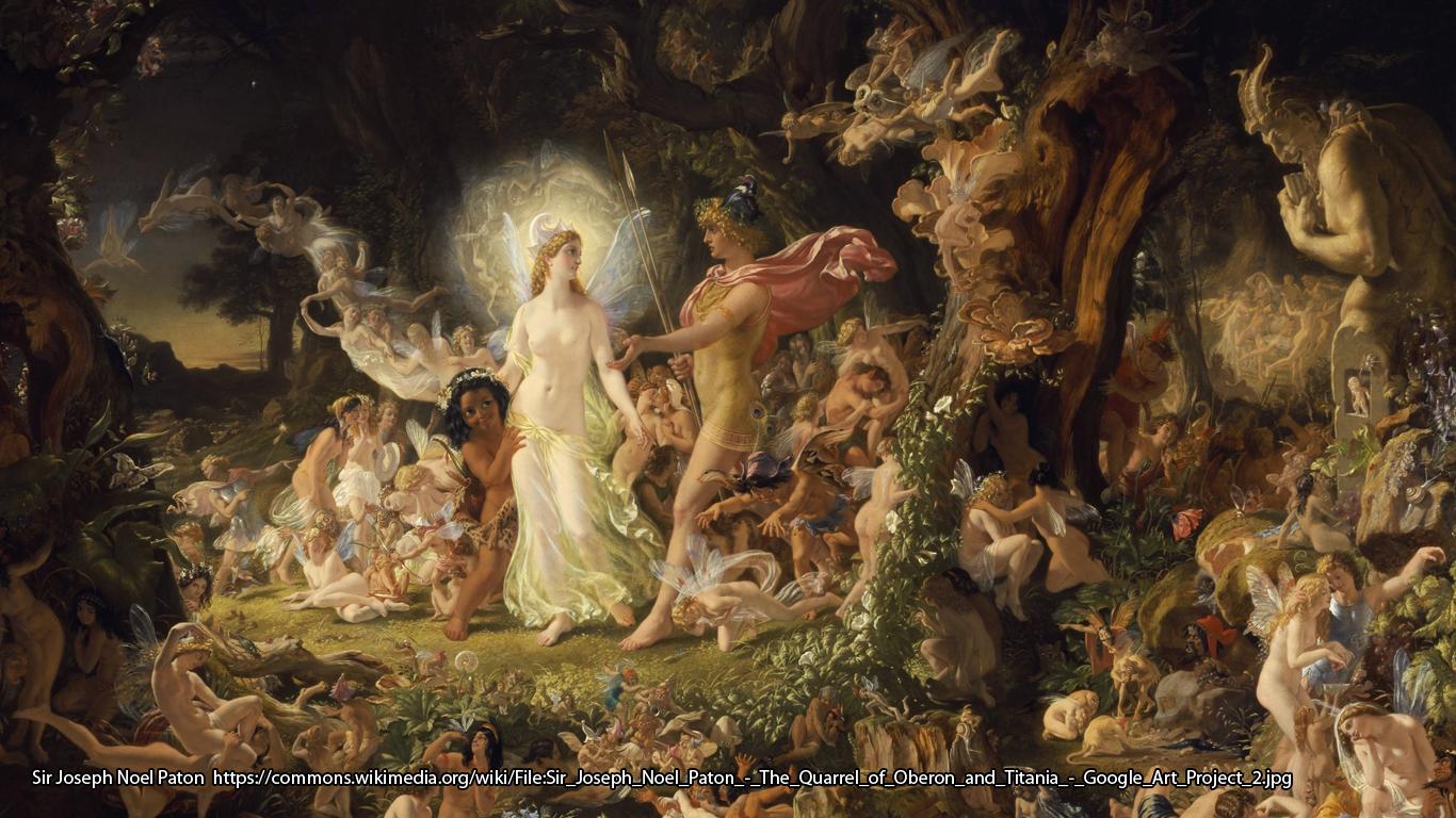 Sir Joseph Noel Paton - The Quarrel of Oberon and Titania https://commons.wikimedia.org/wiki/File:Sir_Joseph_Noel_Paton_-_The_Quarrel_of_Oberon_and_Titania_-_Google_Art_Project_2.jpg