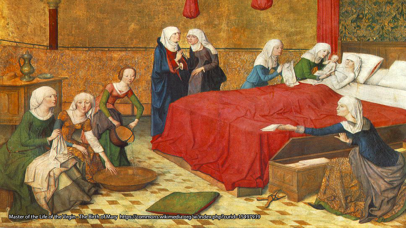 Master of the Life of the Virgin - The Birth of Mary https://commons.wikimedia.org/w/index.php?curid=15497939