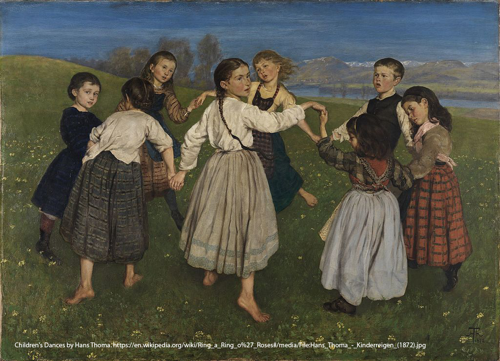 Children's Dances by Hans Thoma. https://en.wikipedia.org/wiki/Ring_a_Ring_o%27_Roses#/media/File:Hans_Thoma_-_Kinderreigen_(1872).jpg