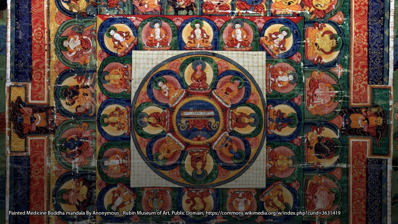 Painted Medicine Buddha mandala By Anonymous - Rubin Museum of Art, Public Domain, https://commons.wikimedia.org/w/index.php?curid=3631419