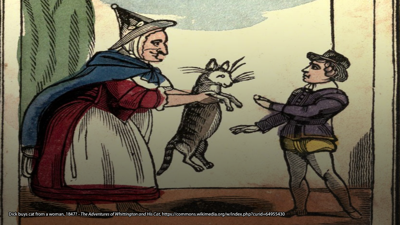 Dick buys cat from a woman, 1847? - The Adventures of Whittington and His Cat, https://commons.wikimedia.org/w/index.php?curid=64955430