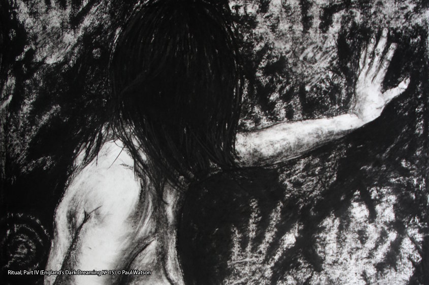 Ritual, Part IV (England's Dark Dreaming № 15) © Paul Watson Charcoal drawing of a woman making rock art handprints