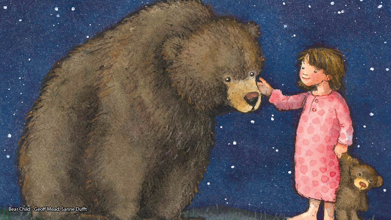 Cover of Bear Child, showing a bear and a little girl to a backdrop of stars - Geoff Mead, Sanne Dufft