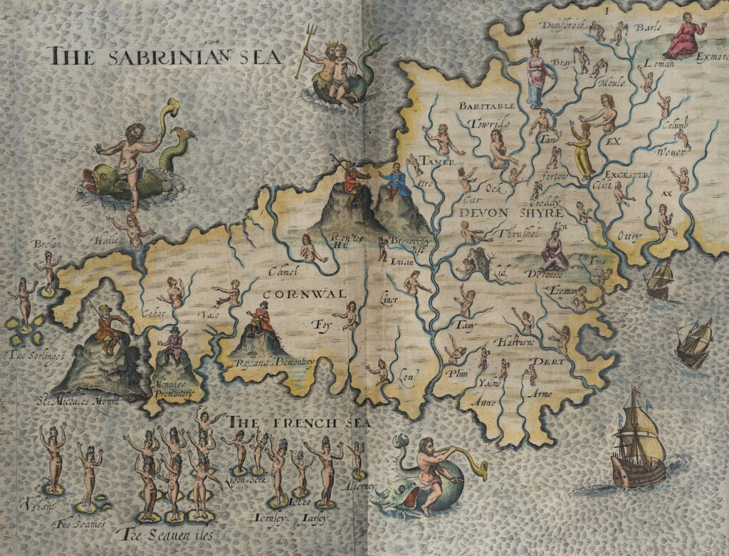 Hand-drawn map of Cornwall and Devonshire from the 1600's