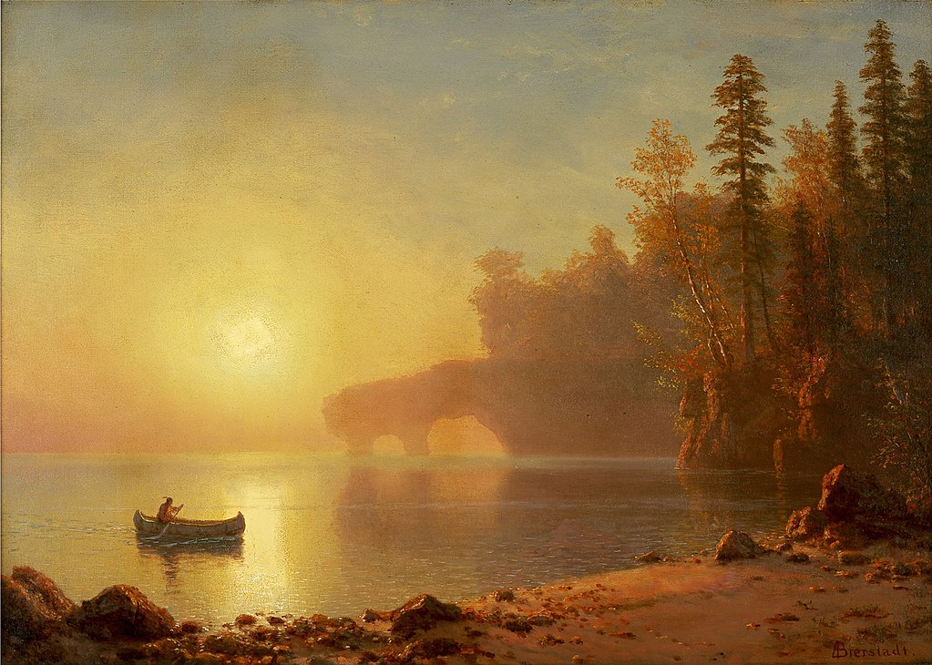 Painting by Albert Bierstadt, Wikimedia Commons. https://commons.wikimedia.org/wiki/File:Albert_Bierstadt_-_Indian_Canoe.jpg