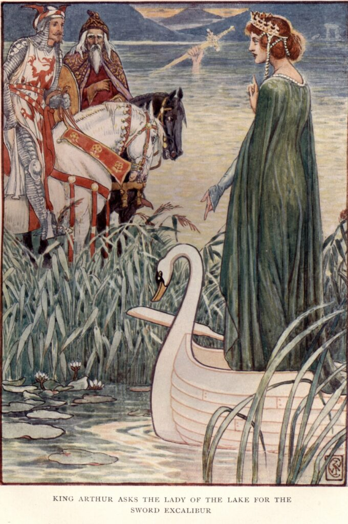 Arthur Asks the Lady of the Lake for Excalibur Source https://commons.wikimedia.org/wiki/File:CRANE_King_Arthur_asks_the_lady_of_the_lake_for_the_sword_Excalibur.jpg
