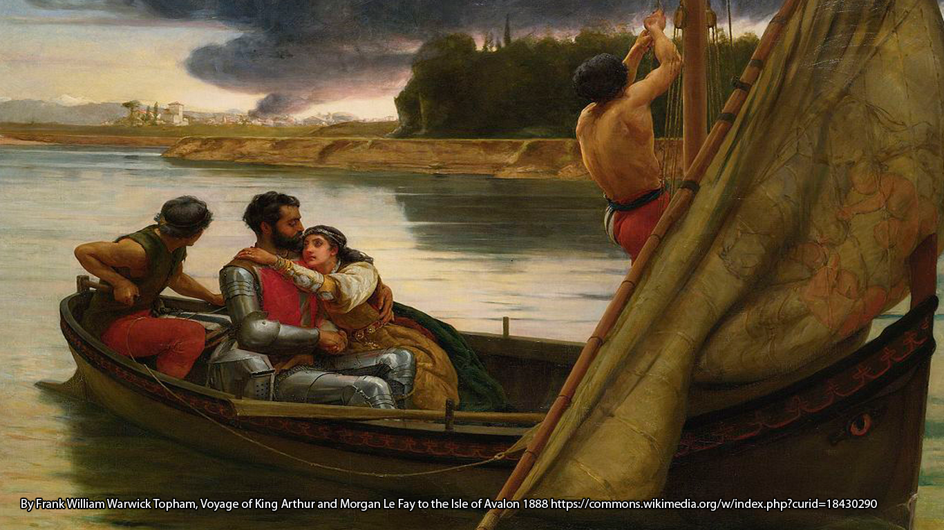 By Frank William Warwick Topham, Voyage of King Arthur and Morgan Le Fay to the Isle of Avalon 1888 https://commons.wikimedia.org/w/index.php?curid=18430290