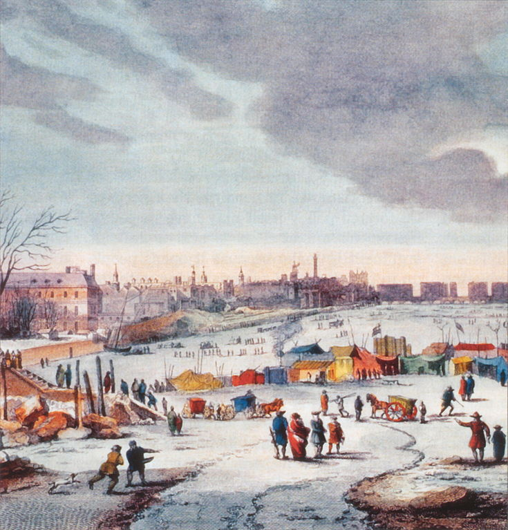 Colourful Snow Scene on Frozen River Thames with market stalls and people