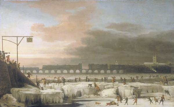 Old London Bridge with workmen breaking the ice
