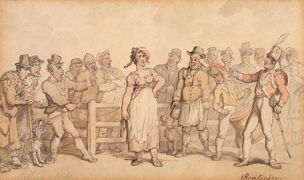 Selling a Wife (1812–14), by Thomas Rowlandson. Public Domain, https://commons.wikimedia.org/w/index.php?curid=8050560