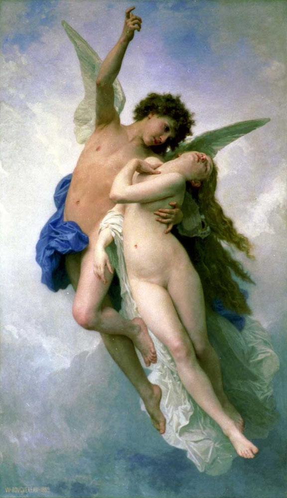 Cupid and Psyche, or in this case, Psyche et L'Amour, by William-Adolphe Bouguereau (1889). Source https://en.wikipedia.org/wiki/File:Psyche_et_LAmour.jpg