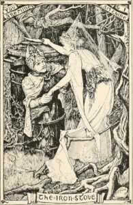 "H. J. Ford's illustration for the Grimm tale, ""The Iron Stove"" (1906). Source https://commons.wikimedia.org/wiki/File:The_yellow_fairy_book_(1906)_(14773307611).jpg"