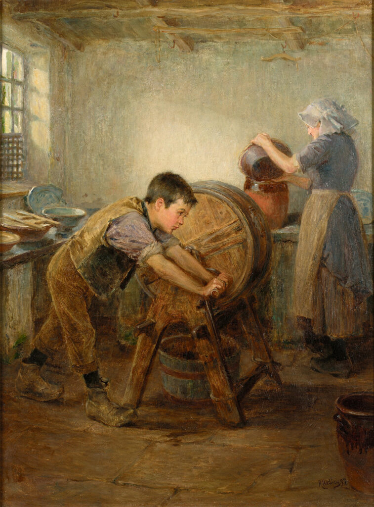 Churning butter, 1897. The woman is pouring cream into earthen jars to ripen before churning. Source https://commons.wikimedia.org/w/index.php?search=butter+churn&title=Special:Search&profile=default&fulltext=1#/media/File:Ralph_Hedley_The_Butter_Churn_1897.jpg