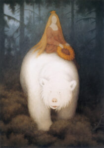 "Kittelsen's iconic illustration for ""White Bear King Valemon"" (1911). Source https://commons.wikimedia.org/wiki/Category:White-Bear-King-Valemon#/media/File:TheodorKittelsen-Kvitebj%C3%B8rnKongValemon(1912).JPG"
