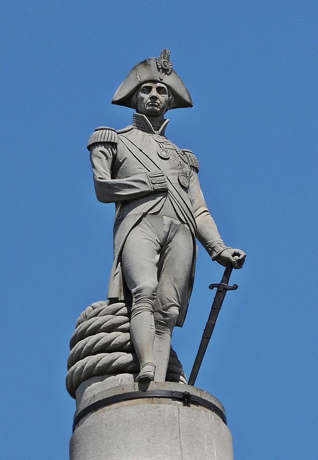Admiral Nelson atop Trafalgar Square in London. By Beata, CC BY-SA 3.0 https://commons.wikimedia.org/w/index.php?curid=20038655