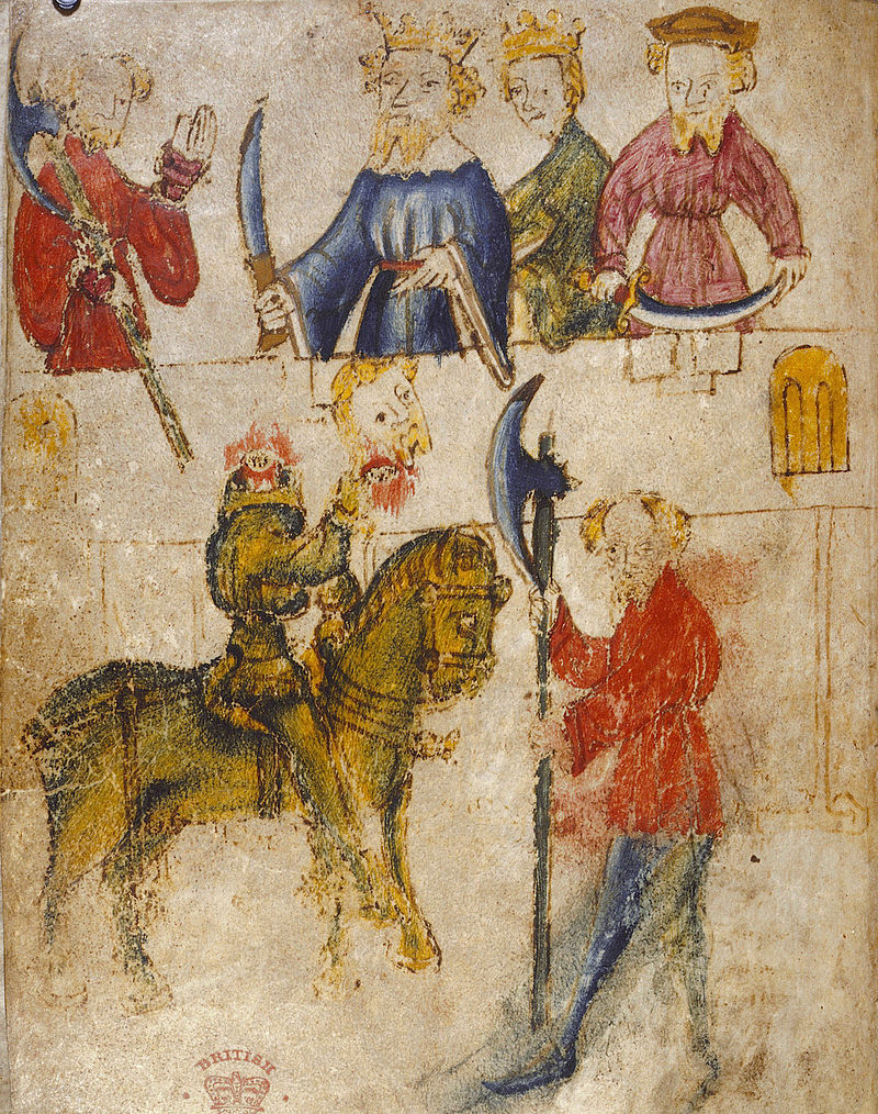 One of the illustrations from the original 14th century manuscript of Sir Gawain and the Green Knight, from the British Library Source https://en.wikipedia.org/wiki/Sir_Gawain_and_the_Green_Knight#/media/File:Gawain_and_the_Green_Knight.jpg